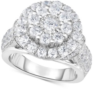 TruMiracle Diamond Double Halo Engagement Ring (3 ct. t.w.) in 14k White Gold