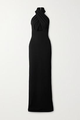SOLACE London Leora Twist-front Cutout Cady Halterneck Maxi Dress - Black