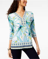 JM Collection Embellished 3/4-Sleeve Tunic, Created for Macy's