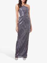 Adrianna Papell Pleated Sequin Maxi Dress, Grey