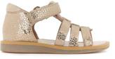 Pom D'Api Strap Poppy Iridescent Leather Sandals