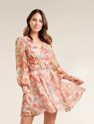 Forever New Clara Belted Skater Dress - Coral Sunrise Floral - 16