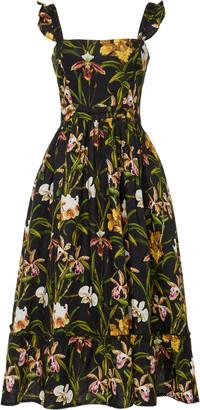 Agua Bendita Herbarium Flora Embroidered Linen Midi Dress