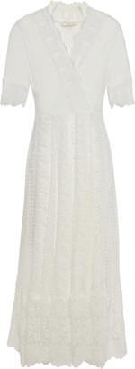Maje Paneled Cotton-blend Point D'esprit And Guipure Lace Midi Dress
