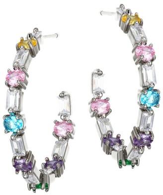 Fallon Multicolor Crystal Ferris Wheel Hoop Earrings