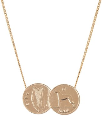 Katie Mullally Double Irish 6D Coin Necklace In Rose Gold Plate
