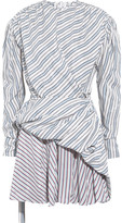 Balenciaga Gathered Wrap-effect Striped Jacquard Mini Dress - Blue
