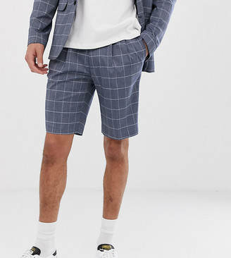 ASOS DESIGN Tall slim suit shorts in linen blue check