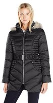 Betsey Johnson Women's Belted Puffer with Faux Fur Trim Hood