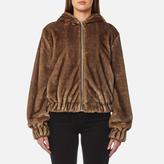 Helmut Lang Women's Hooded Mink Bomber Jacket Honey/Chestnut