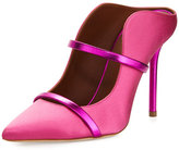 Malone Souliers Maureen Satin Two-Strap Mule Pump, Pink