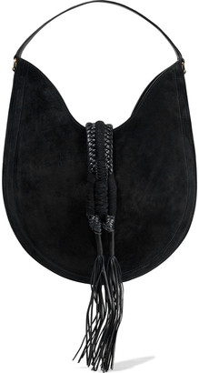 Altuzarra Ghianda Fringed Leather-trimmed Braided Suede Tote