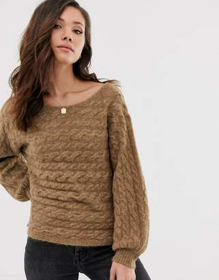 Abercrombie & Fitch knit jumper in toasted coconut-Stone