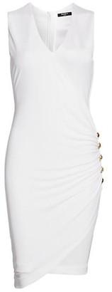 Balmain V-Neck Gathered Button Jersey Dress