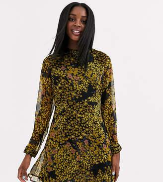 JDY high neck chiffon skater dress in yellow floral-Multi