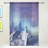 WOZO Purple Howling Wolf Window Sheer Curtain Panels, 1-Piece Winter Snow Forest Modern Window Treatment Panel for Children Kids Home Living Dining Room Playroom Decoration