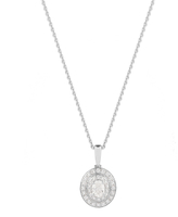 Jenny Packham 18ct White & Rose Gold 0.35ct Oval Cut Double Halo Diamond Necklaces