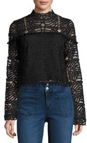 Tularosa Holly High-Neck Lace Top, Onyx