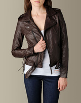WOMENS LACE UP BIKER LEATHER JACKET - (Brown)