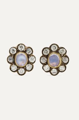 Fred Leighton 1890s 18-karat Gold, Silver, Moonstone And Diamond Earrings