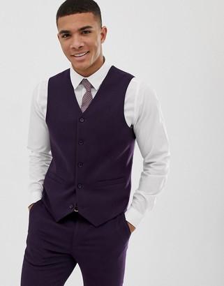 Asos DESIGN wedding skinny suit vest in purple micro texture