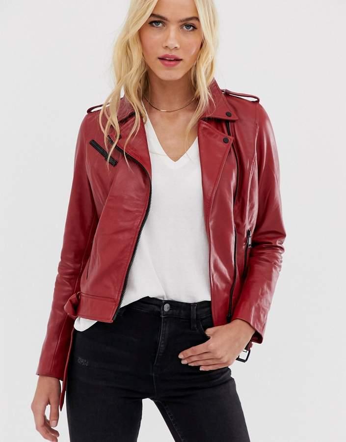 Barneys New York Barneys Originals coloured leather biker jacket in red