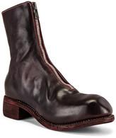 Guidi Full Grain Horse Front Zip Boot in Burgundy | FWRD