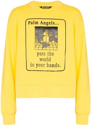 Palm Angels World In Your Hands graphic-print cotton sweatshirt