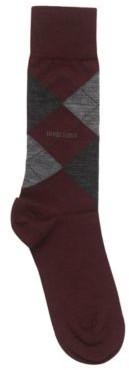 HUGO BOSS Regular-length wool-blend socks with argyle motif