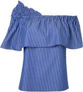Le Ciel Bleu striped off shoulder blouse - women - Cotton - 38