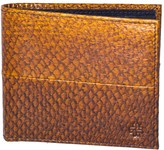 Mayu Carlos Fish Leather Bi-Fold Wallet Cognac and Ultramarine
