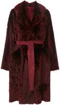 Yves Salomon tie coat - women - Lamb Skin/Lamb Fur - 40