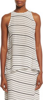 Theory Kalstinn Bevel Striped Sleeveless Top