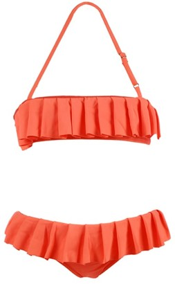 MC2 Saint Barth Little Girls Ruffle Two Piece Swimsuit Peach Color