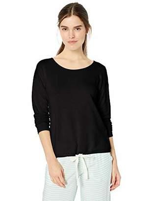 Amazon Essentials Women's Standard Lounge Terry Long-Sleeve Top, Black, X-Large