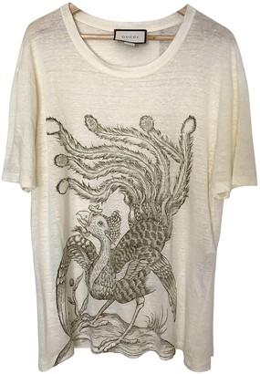 Gucci Beige Linen T-shirts