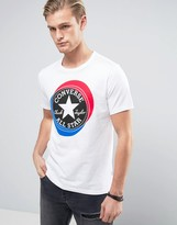 Converse T-shirt With Large Circle Logo In White 10003901-a01