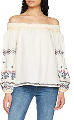 Pepe Jeans Women's Sofie Blouse, Beige (Beige/Blue/Red), Large