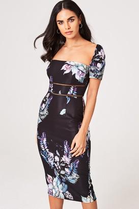 Little Mistress Roxby Black Floral Square-Neck Midi Bodycon Dress