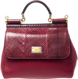 Dolce & Gabbana Red Python and Leather Miss Sicily Top Handle Bag