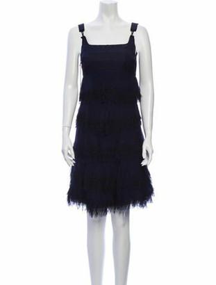 Ralph Rucci Square Neckline Knee-Length Dress Blue