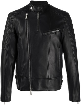 DSQUARED2 Zipped Lambskin Biker Jacket