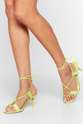 Nasty Gal Womens The Lace is On Kitten Heel Sandals - Lime