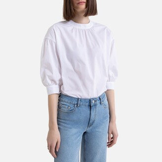 La Redoute Collections Cotton Round-Neck Blouse with 3/4 Length Sleeves