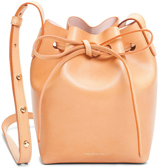 Mansur Gavriel Mini Mini Bucket Bag in Cammello & Rosa | FWRD