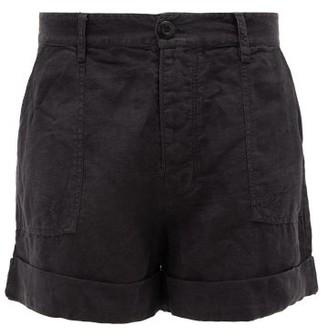 Frame Le Beau High-rise Linen Shorts - Black