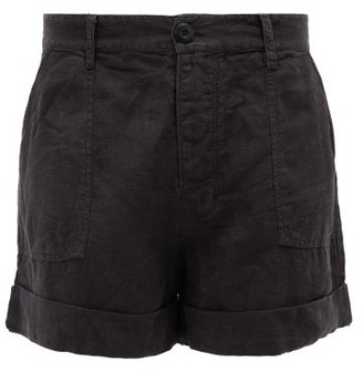 Frame Le Beau High-rise Linen Shorts - Womens - Black