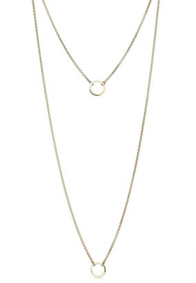 Elli Necklace Layered Circle Gold Plated 925 Sterling Silver