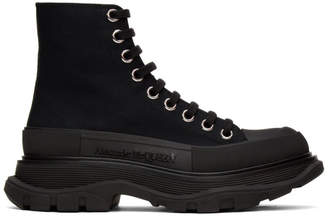 Alexander McQueen Black Tread Slick Platform High Sneakers