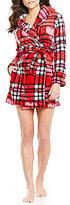 Betsey Johnson Plaid & Heart-Print Plush Robe